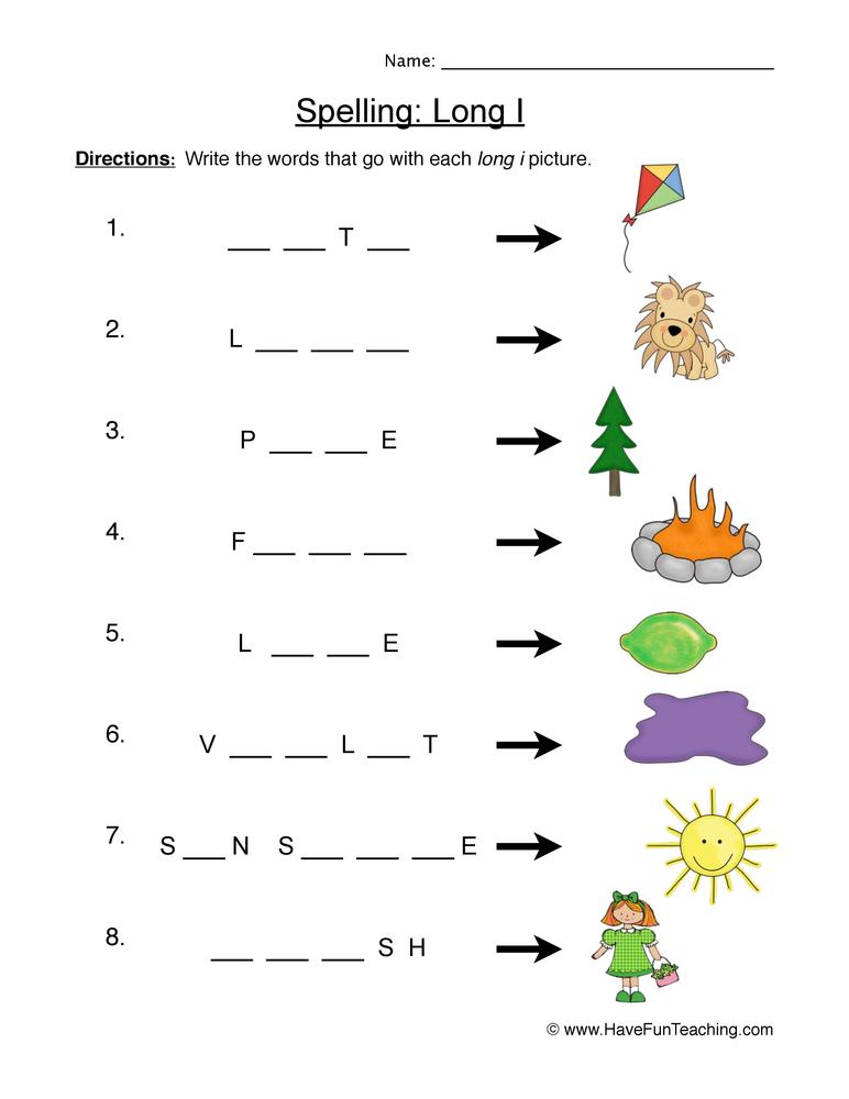 Spelling Long I Worksheet | Have Fun Teaching