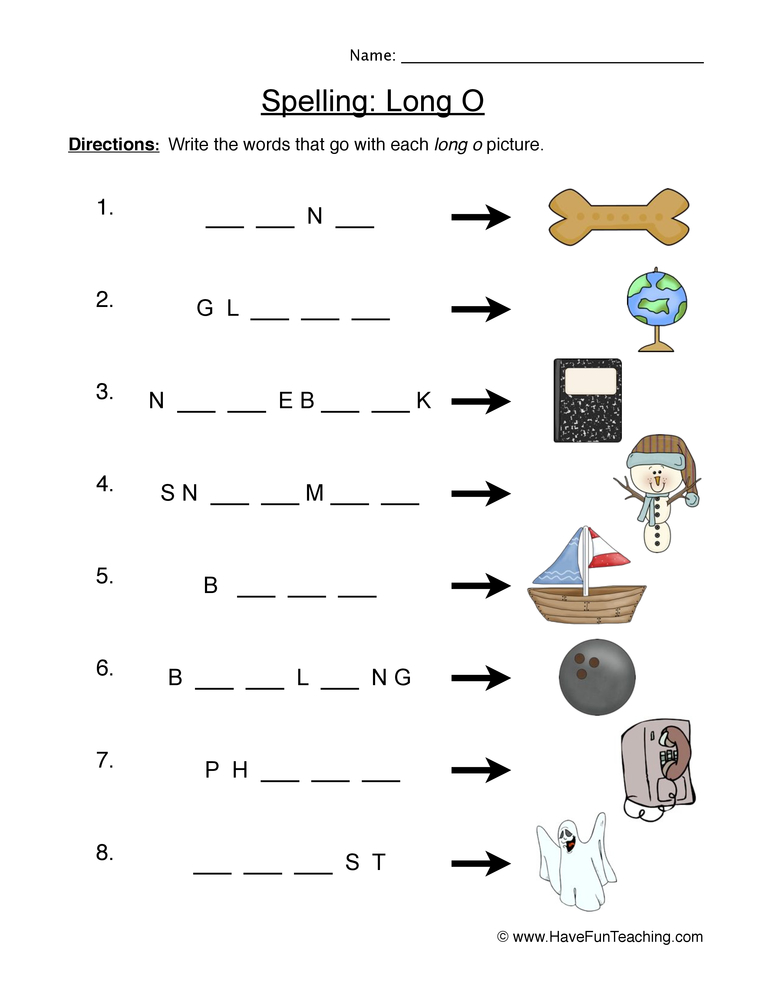 Long O Worksheet 1