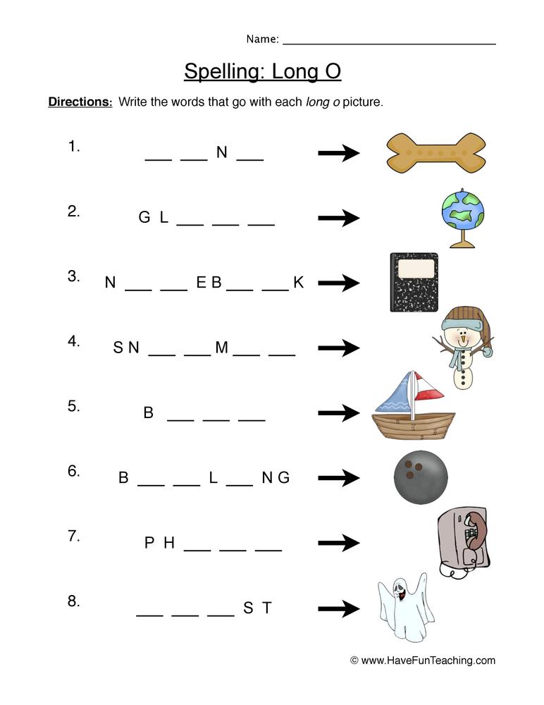 spelling long o worksheet 1