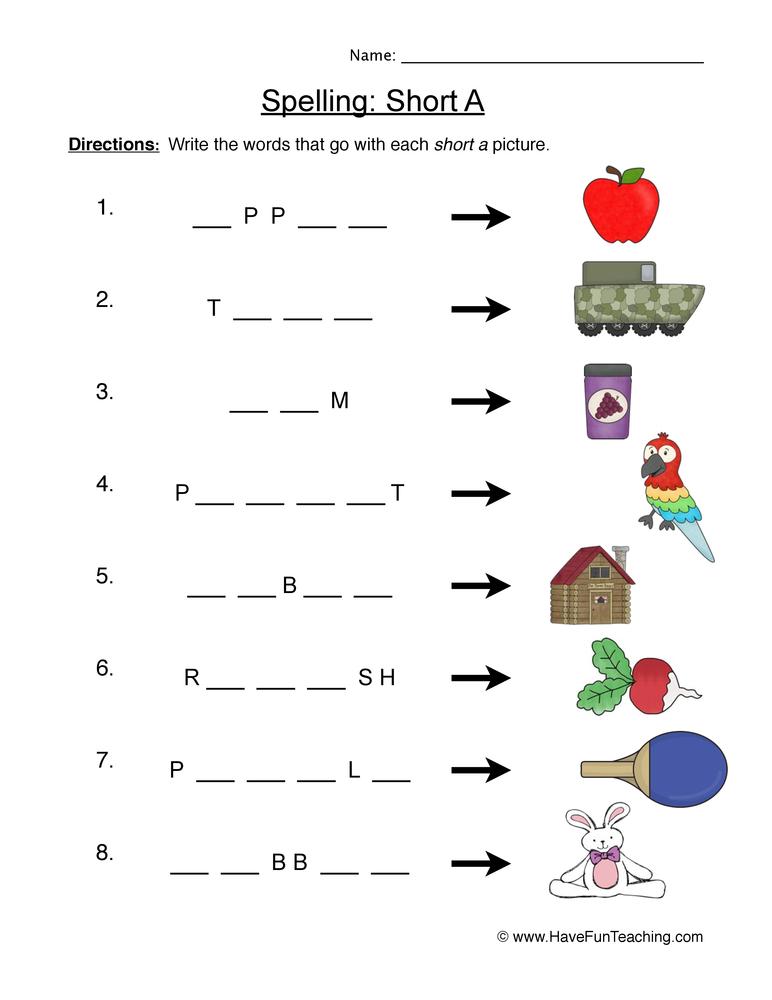 spelling short a worksheet 1