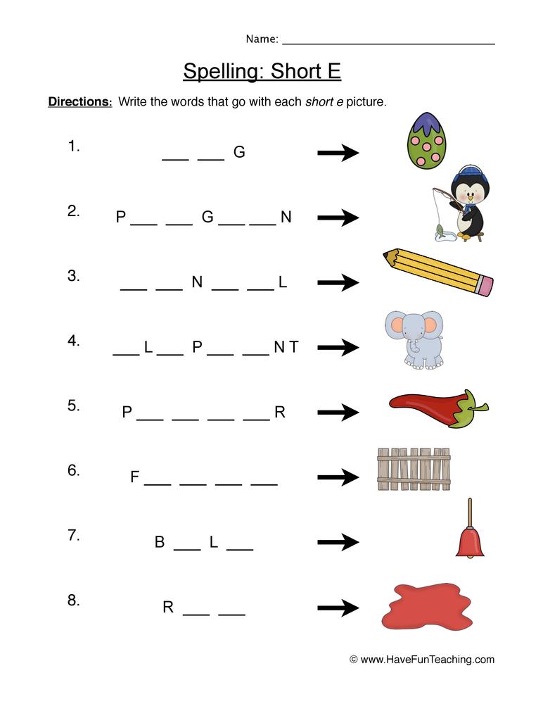 spelling short e worksheet 1