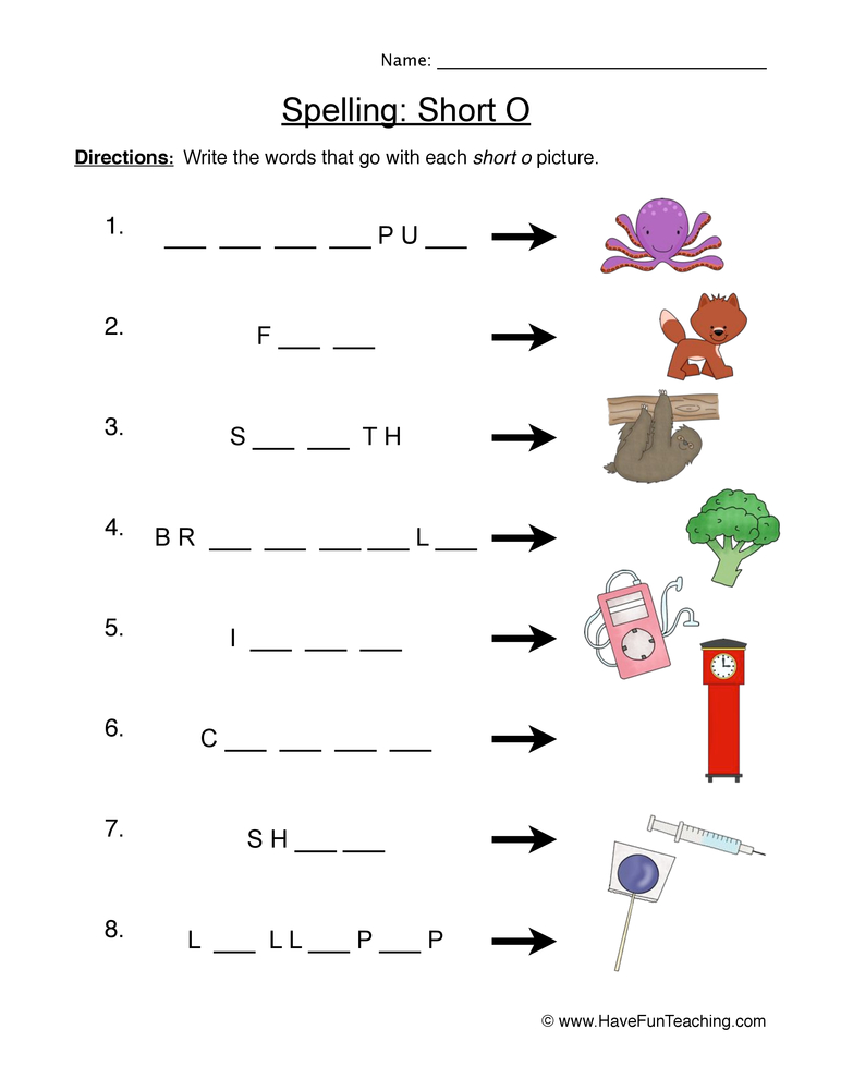 Letter Sound Worksheet – Short O Worksheet