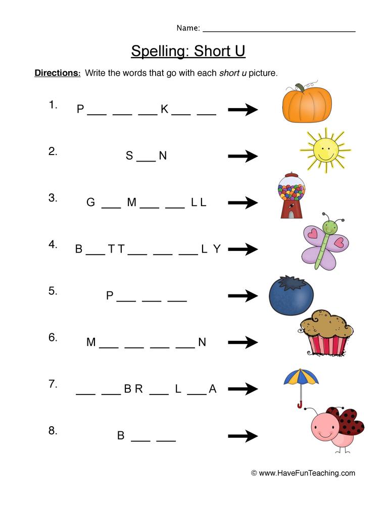 spelling short u worksheet 1