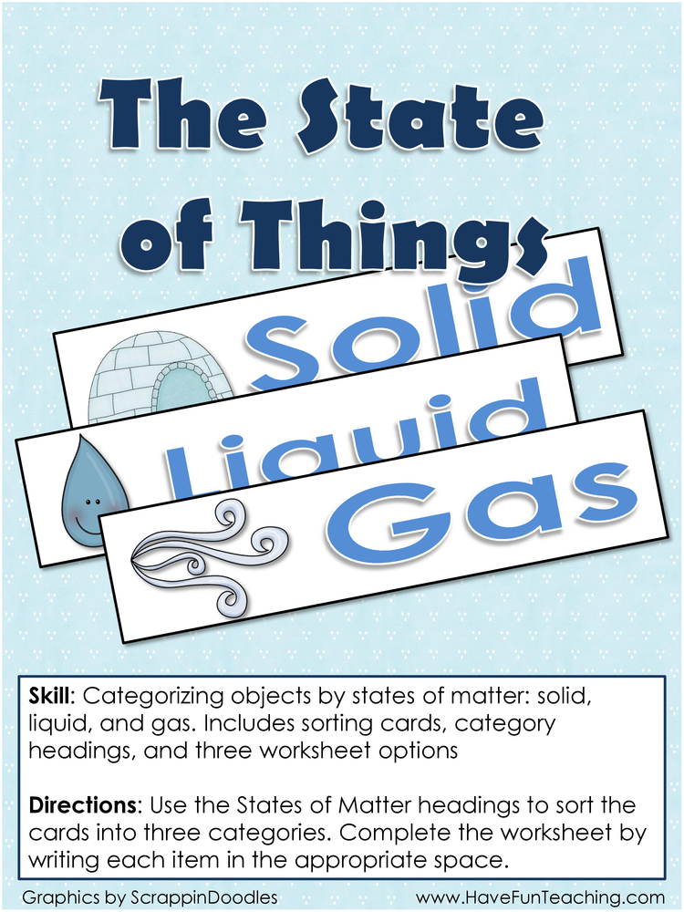 States of Things States of Matter Activity