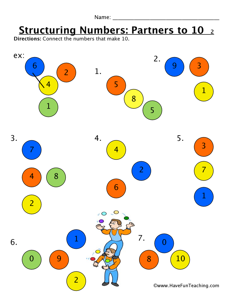 structuring numbers partners to ten worksheet 2