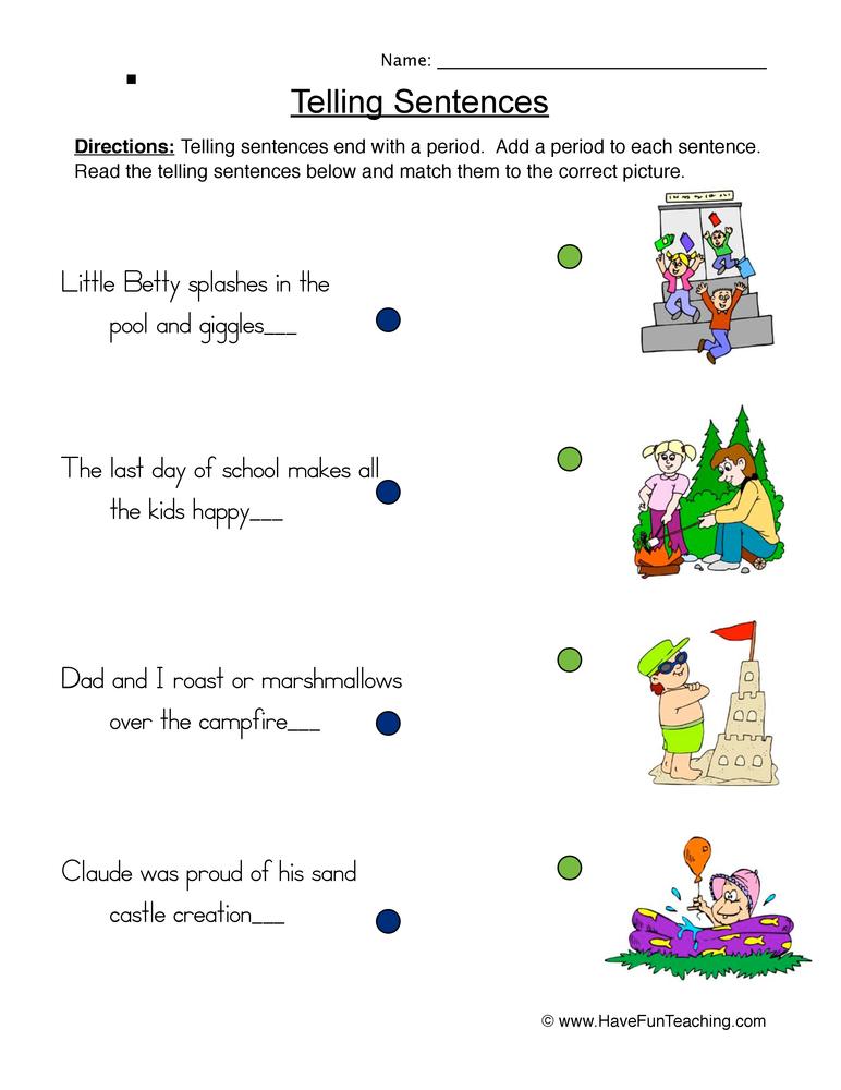 telling sentences worksheet 2. Black Bedroom Furniture Sets. Home Design Ideas