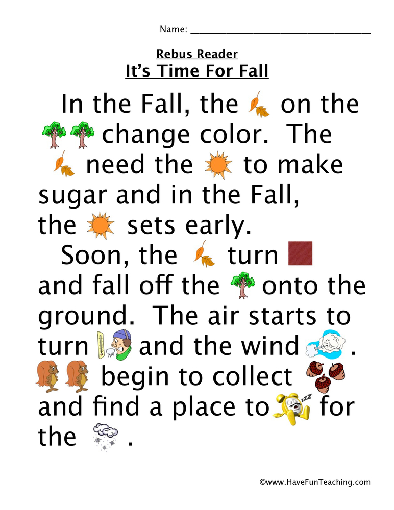 time for fall rebus worksheet