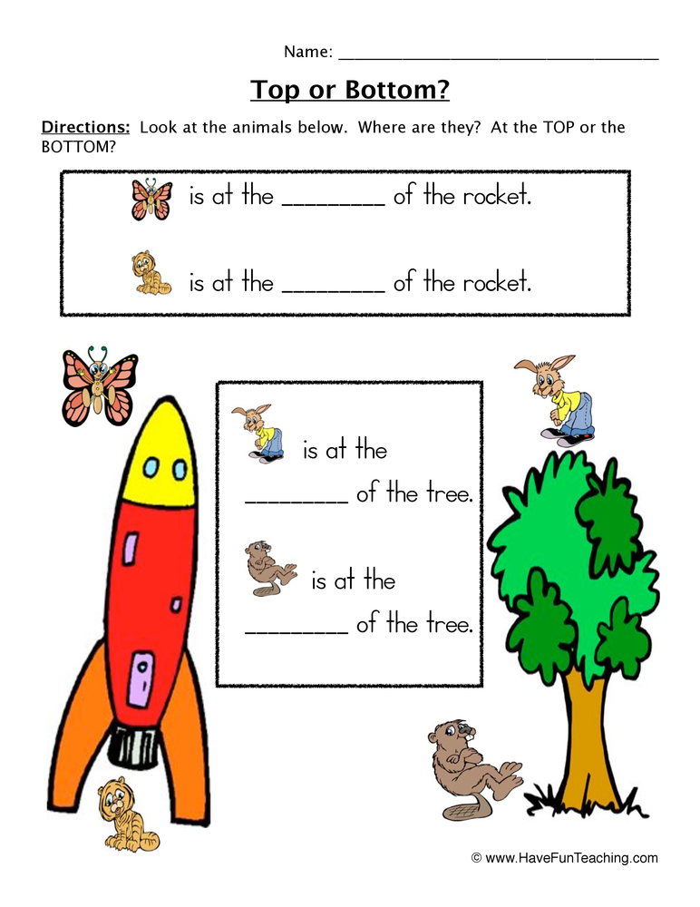 Top or Bottom Pictures Worksheet | Have Fun Teaching