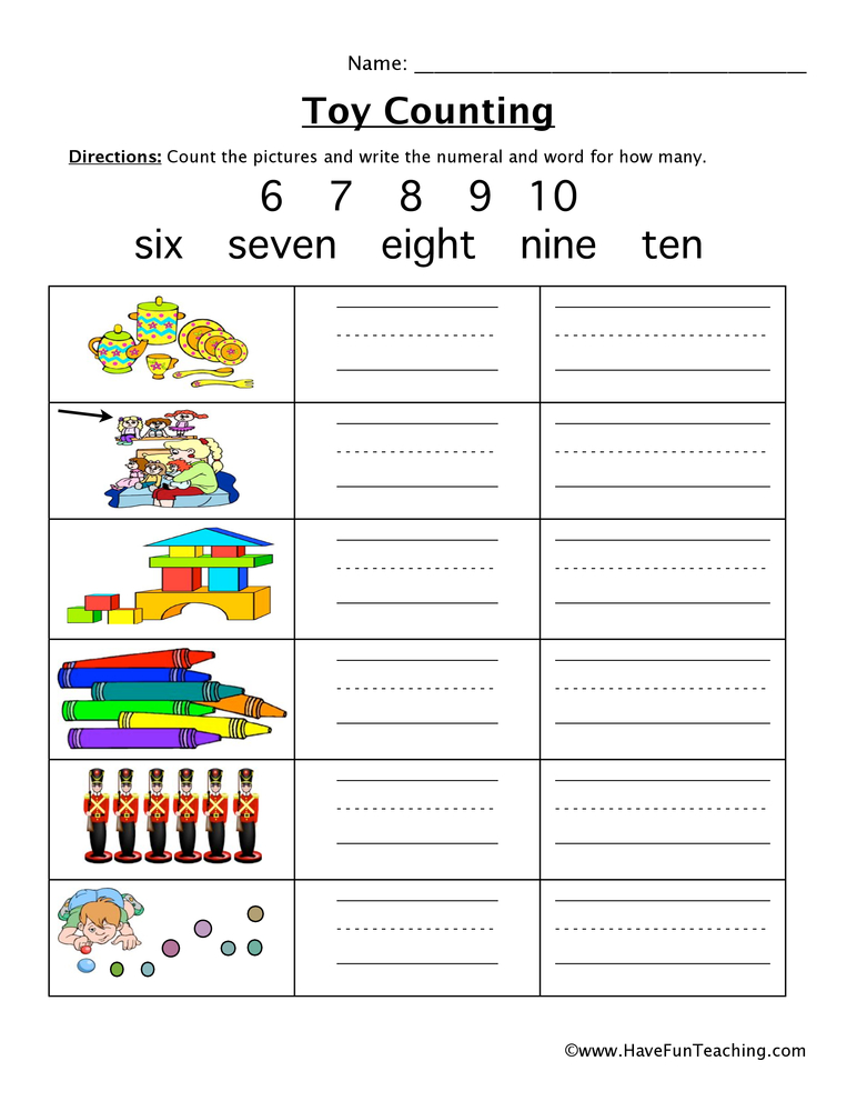 toy counting worksheet 2