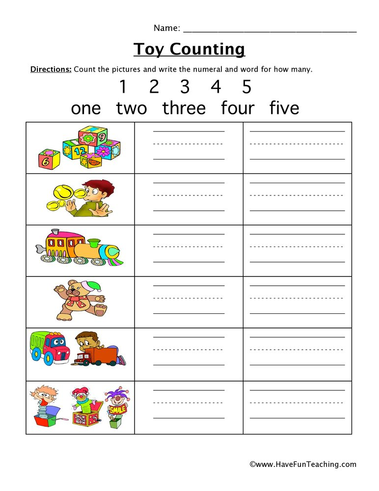toy counting worksheet
