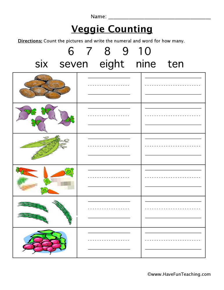 vegatable counting worksheet 2