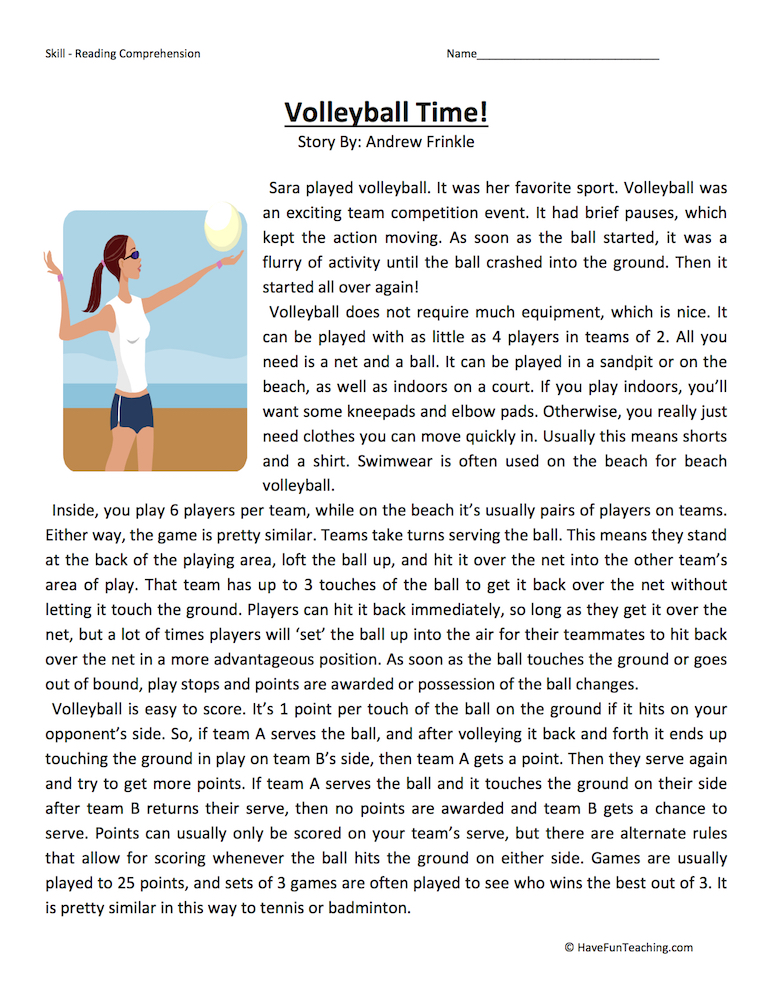 Volleyball Time Reading Comprehension Worksheet Have Fun
