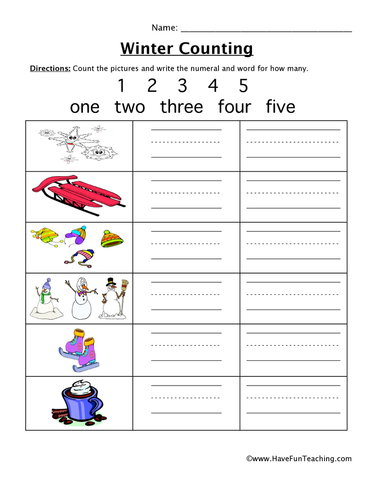 winter counting worksheet 1-5