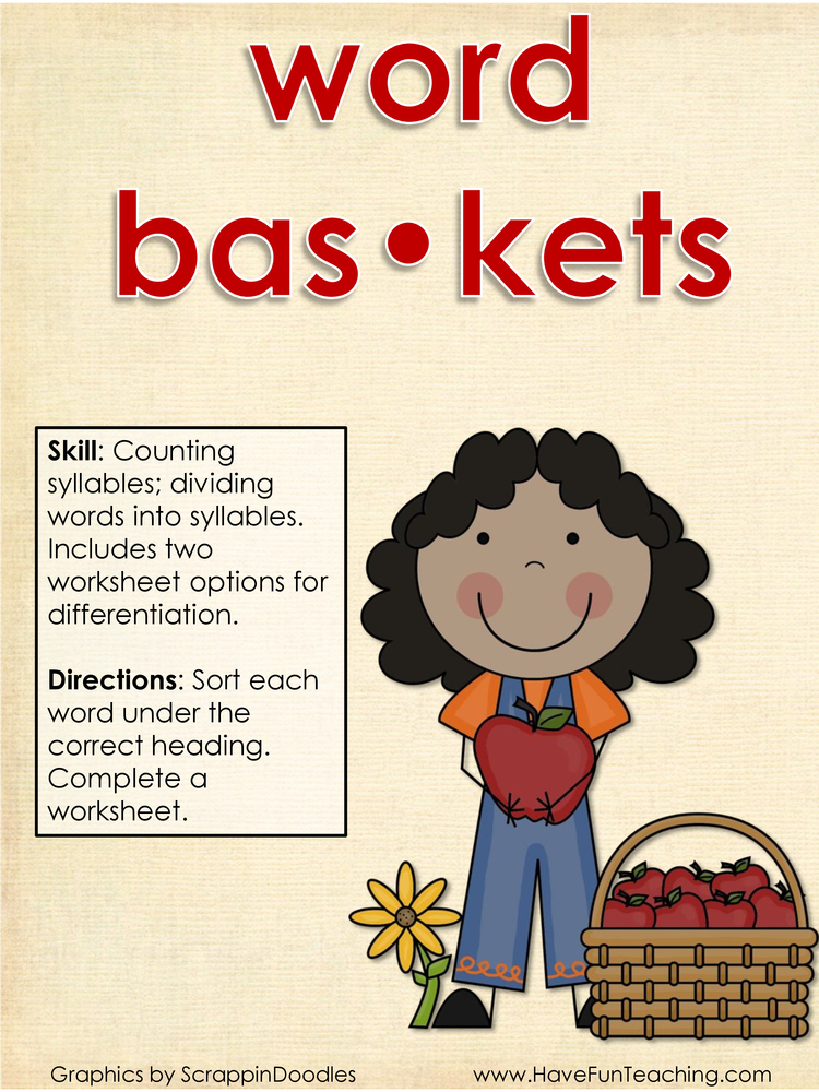word baskets syllables activity