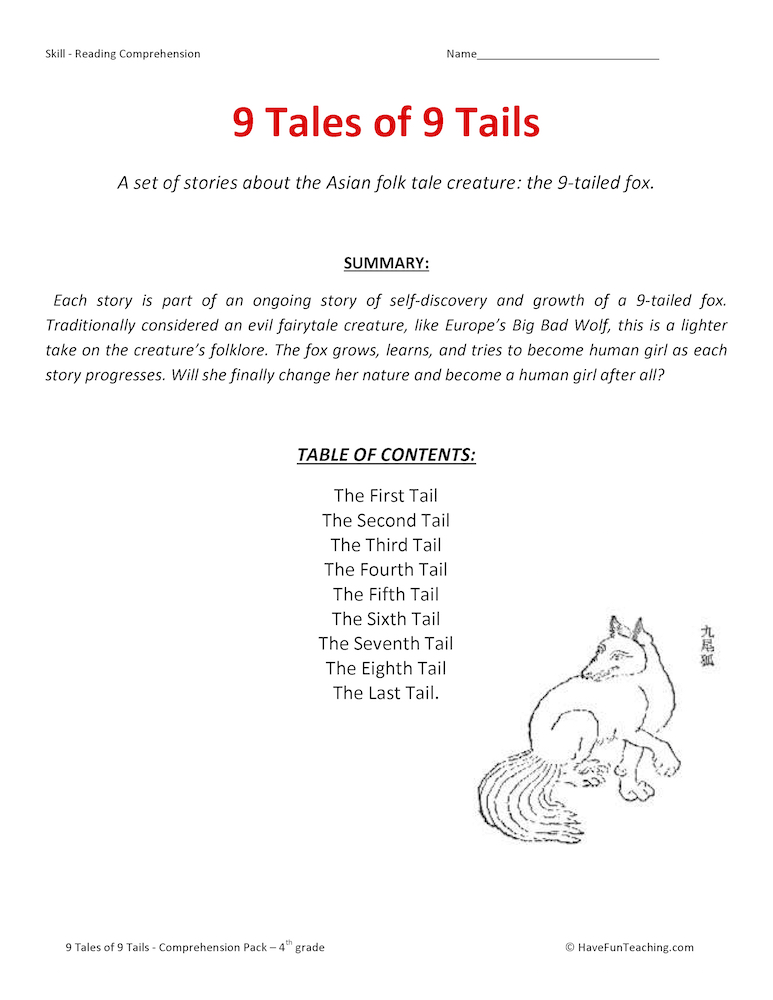9 Tales of 9 Tails Reading Comprehension Test Collection ...