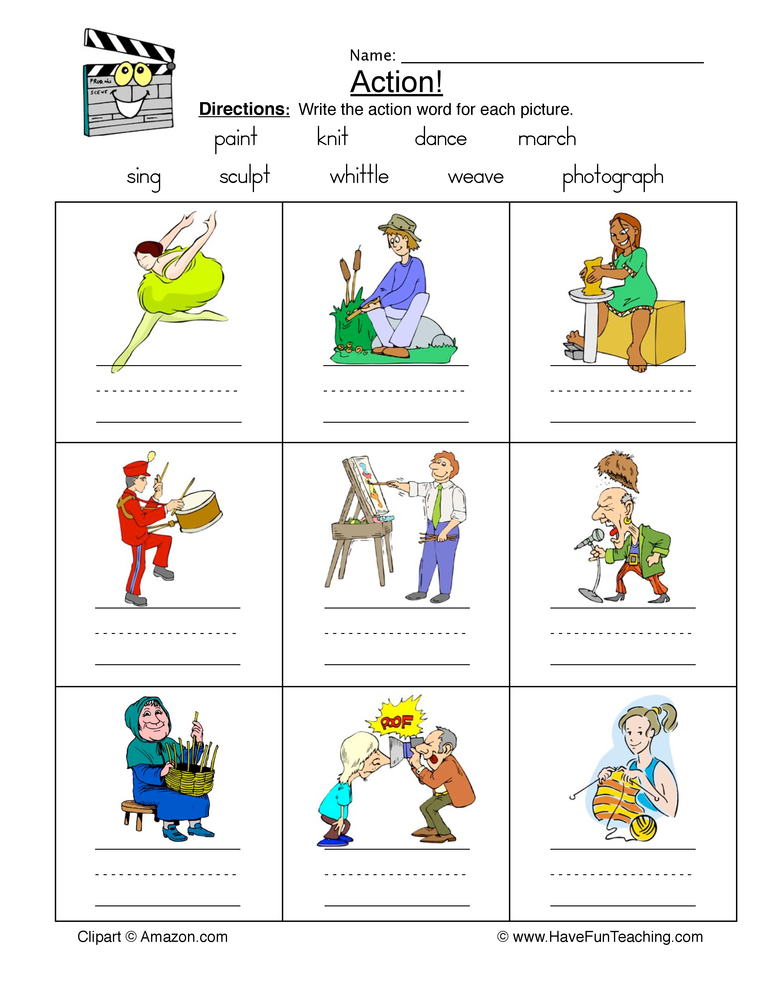 action words worksheet 1