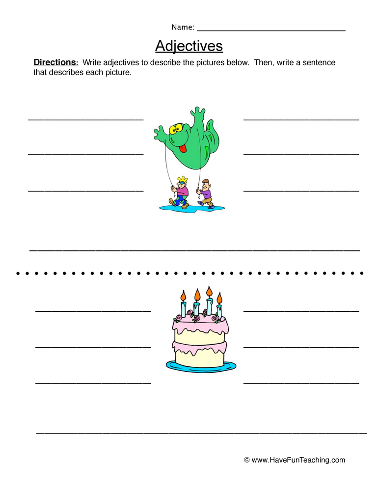 adjectives worksheet 2