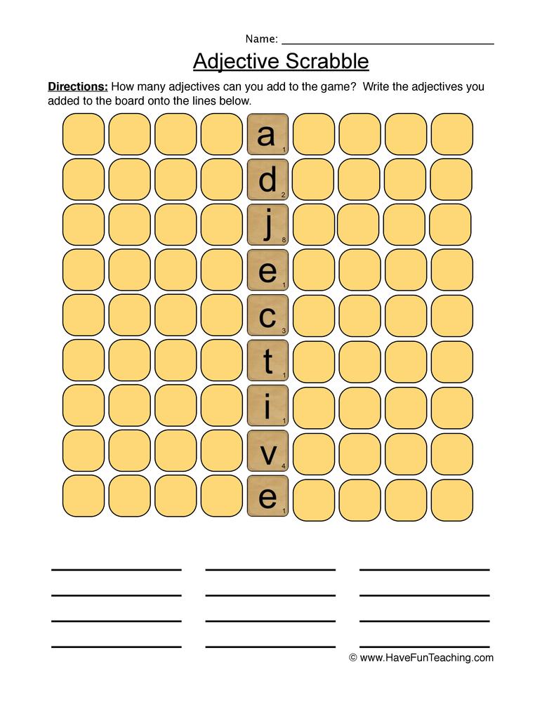 adjectives worksheet 4