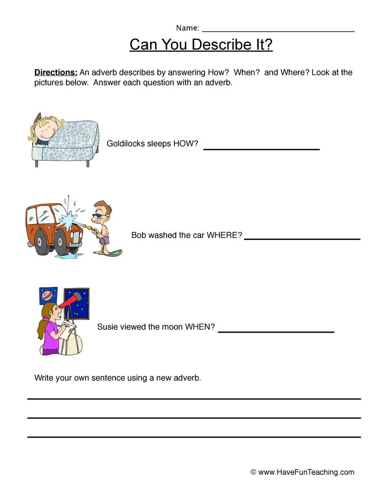 Describe it Using Adverbs Worksheet