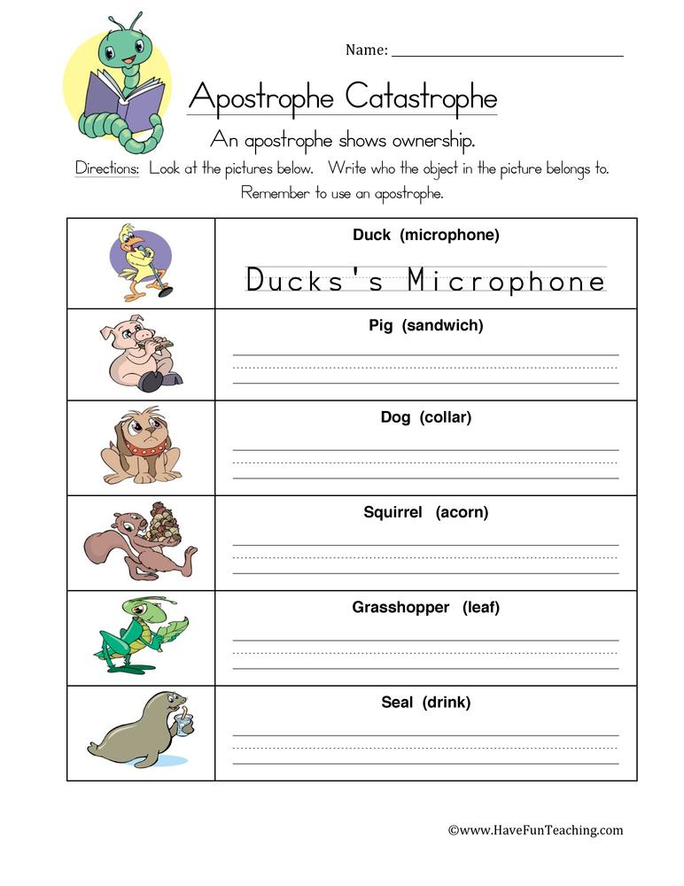 Apostrophe Worksheet 2 – Apostrophe Practice Worksheet