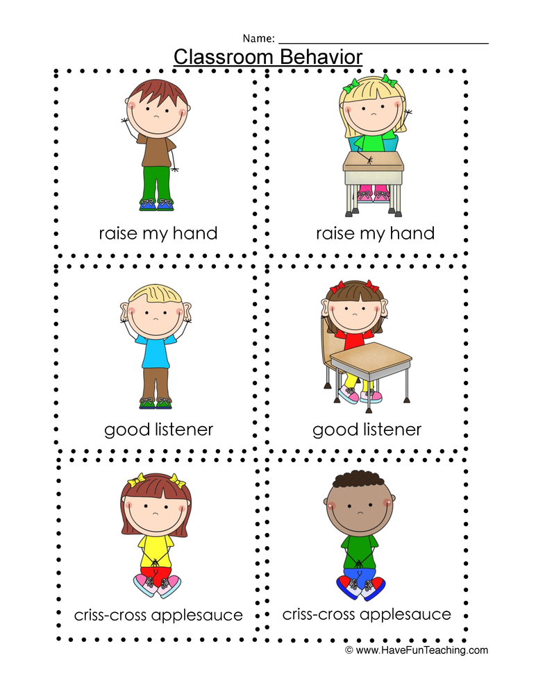 back to school classroom behavior flash cards