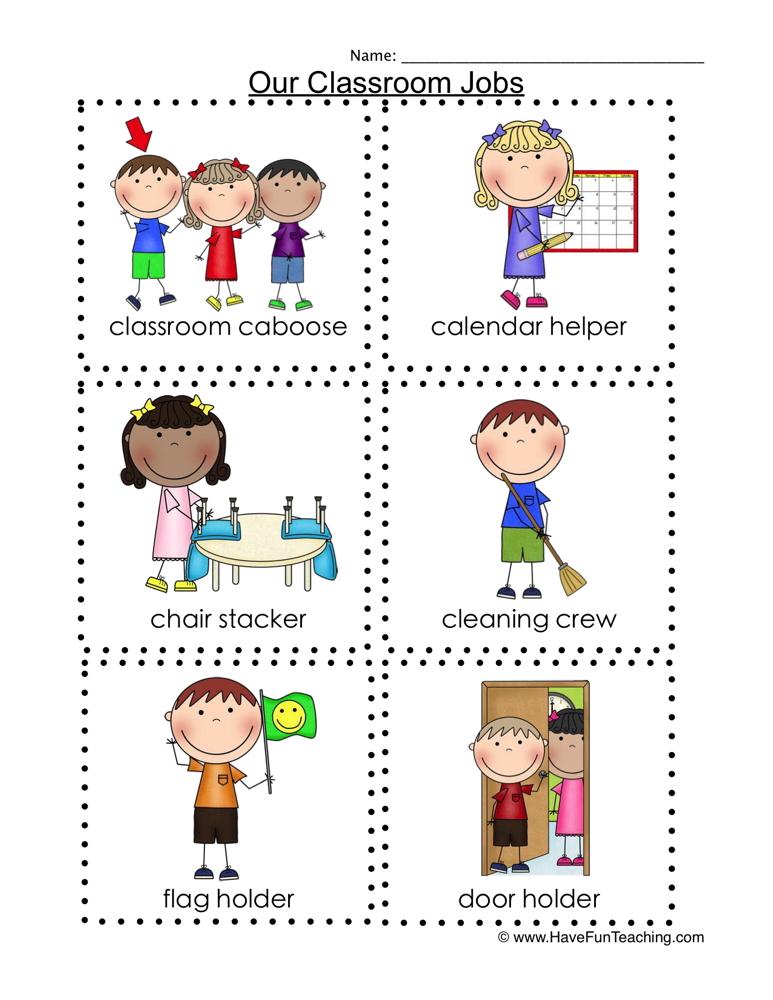Back to School Classroom Jobs Flash Cards