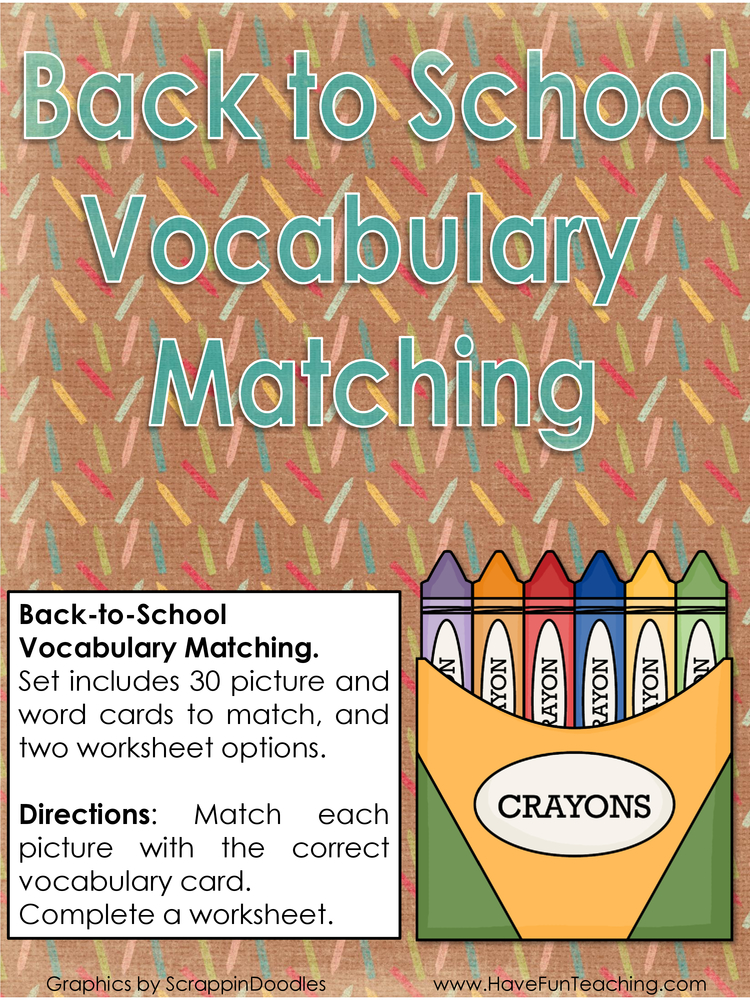 back to school vocabulary matching activity