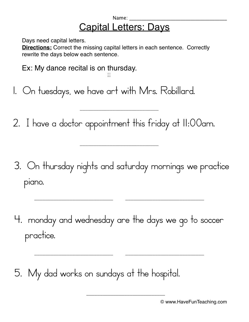 Capital Letter Beginning Sentence.Capital Letters Days Sentences Worksheet Have Fun Teaching