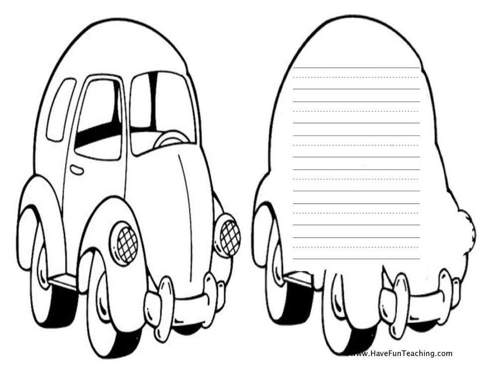 car shape book worksheet