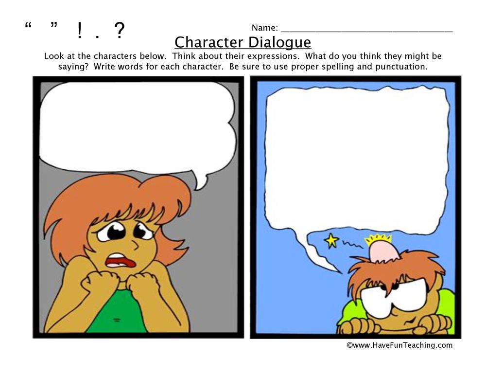Cartoon Character Dialogue Worksheet