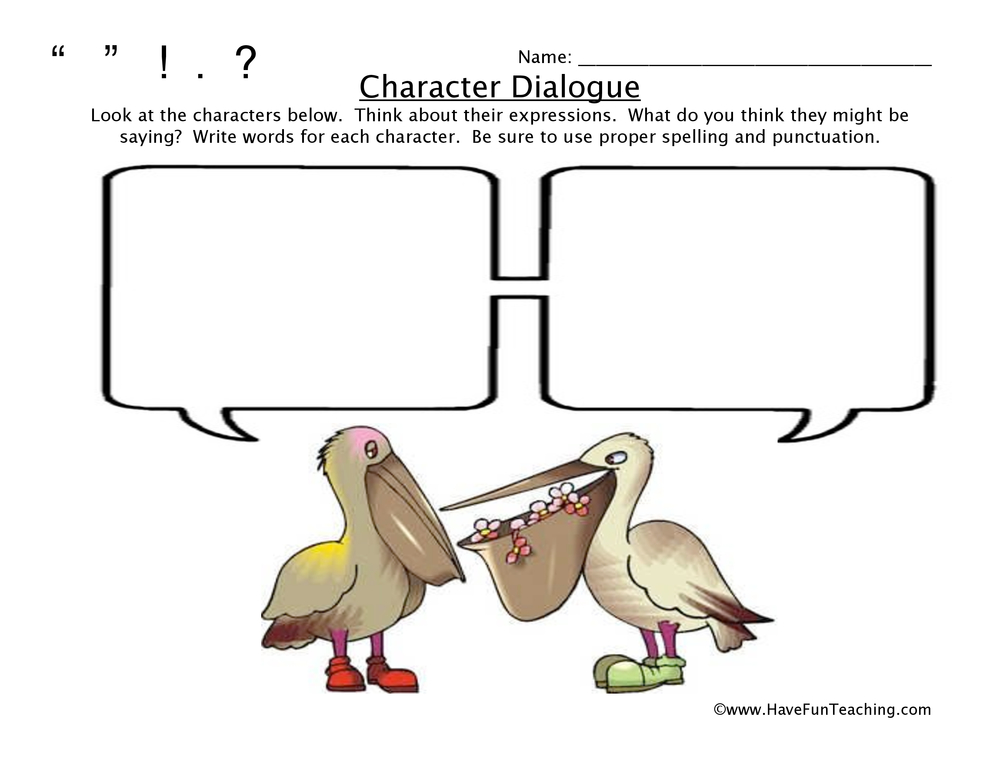 character dialogue worksheet 2