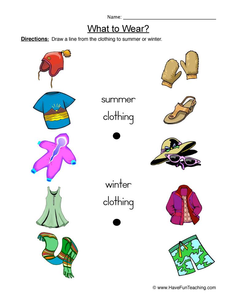 Clothing Worksheet 1