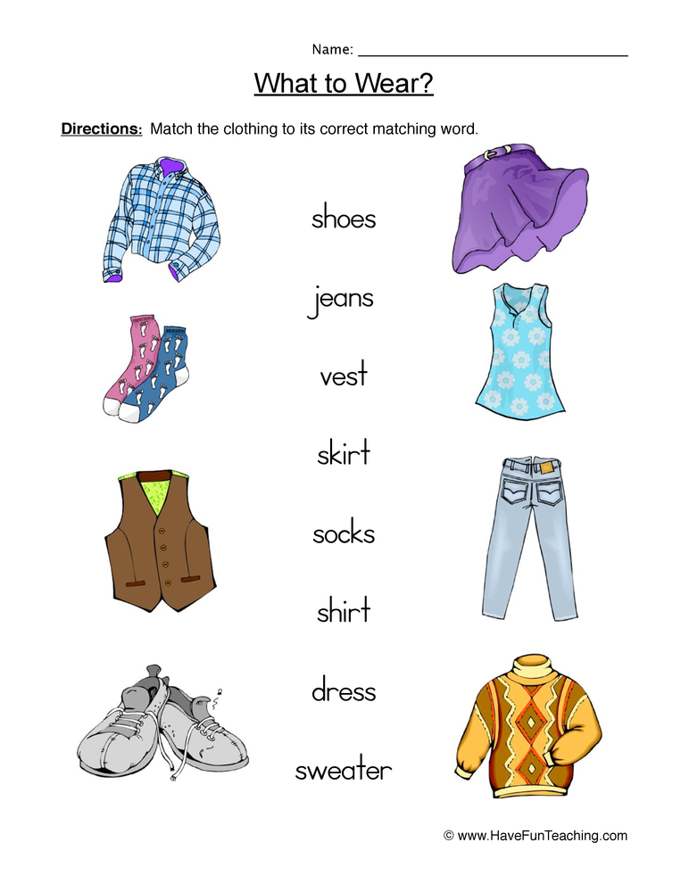 Clothing Worksheet 2