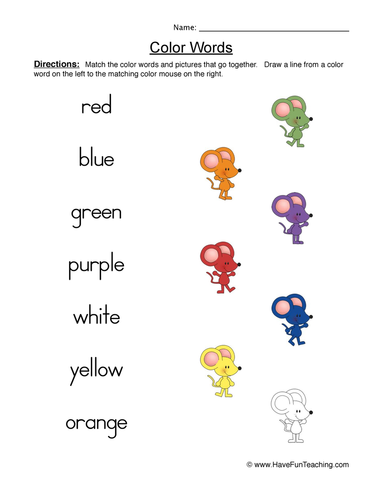 color words worksheet 1