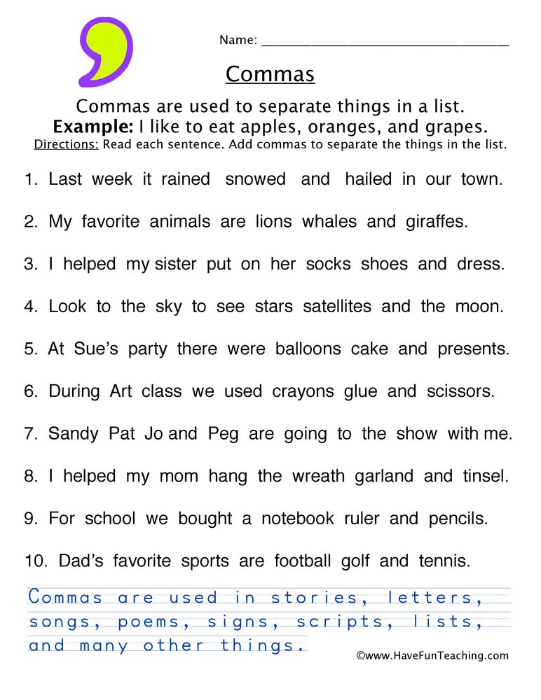 Comma Worksheet 3 on Easy First Grade Grammar Worksheets