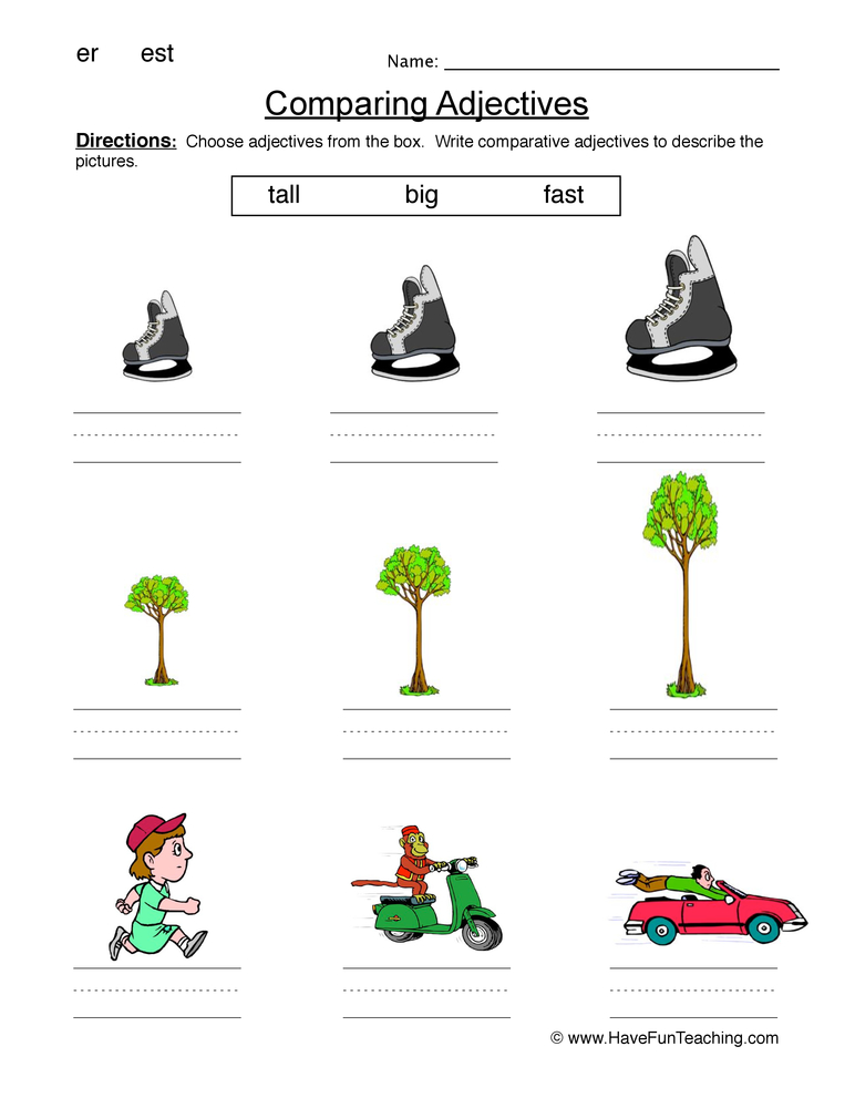 comparing adjectives worksheet 1