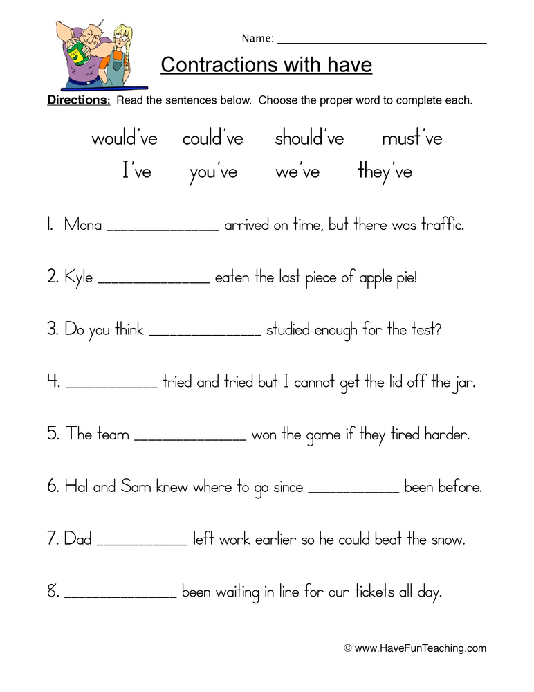 contractions have worksheet 1