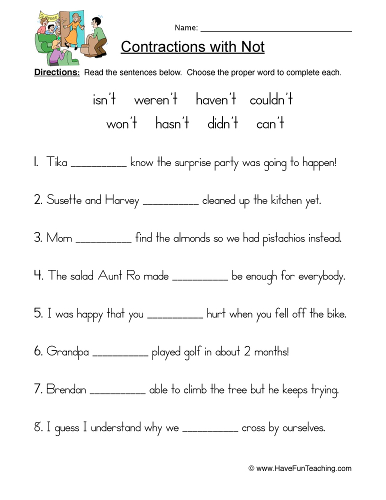 contractions nt worksheet 1