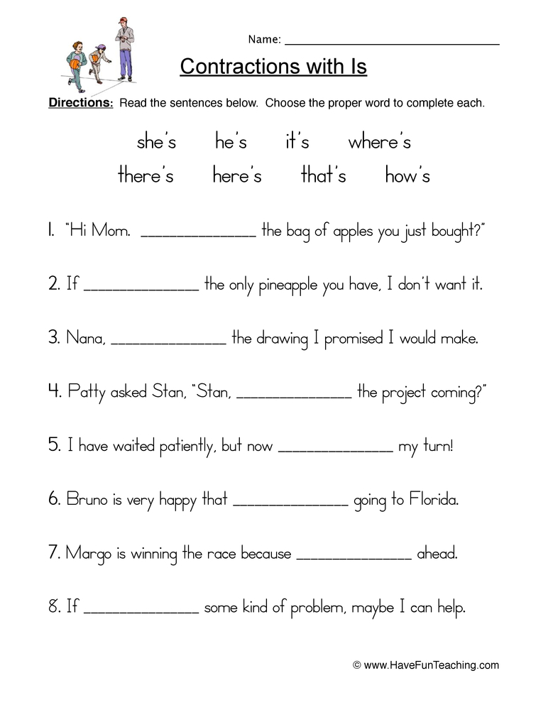 contractions s worksheet 1