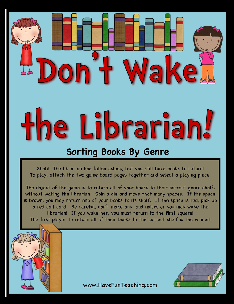 Don't Wake the Librarian Sorting Books by Genre Activity