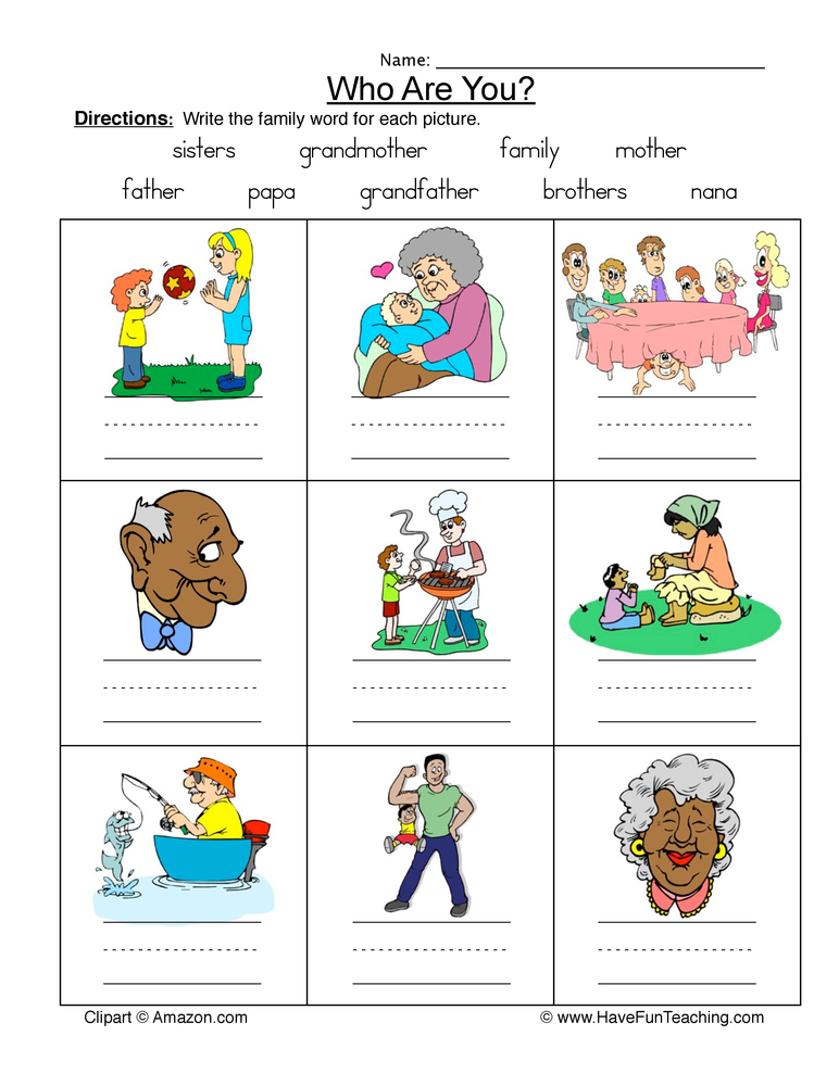 family names worksheet 1