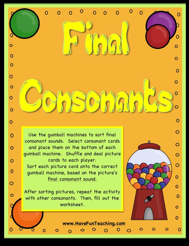 final consonants activity