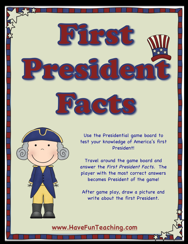 First president facts activity for Fun facts about the presidents