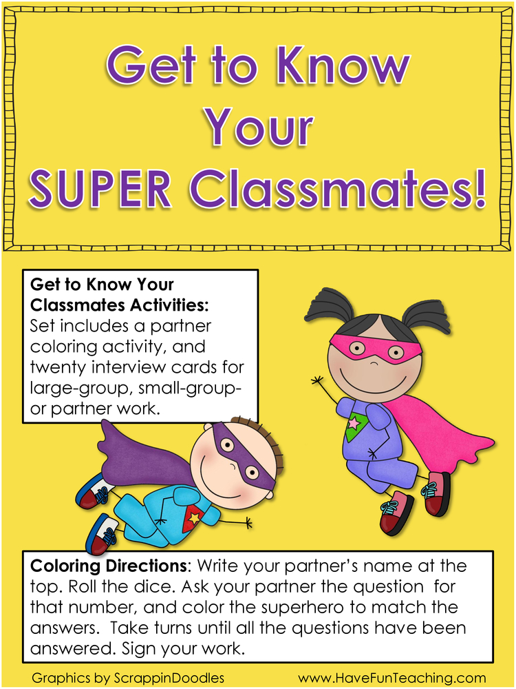 get to know your super classmates back to school activity