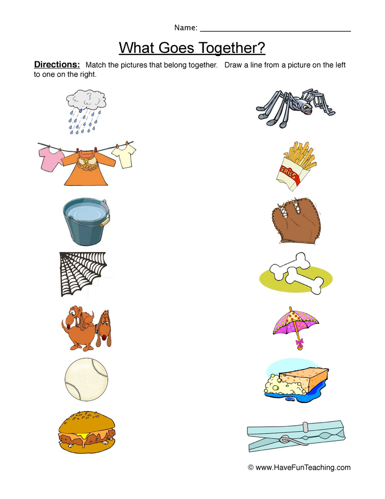 Go Together Worksheet 1 on Counting Objects To 20 Worksheets