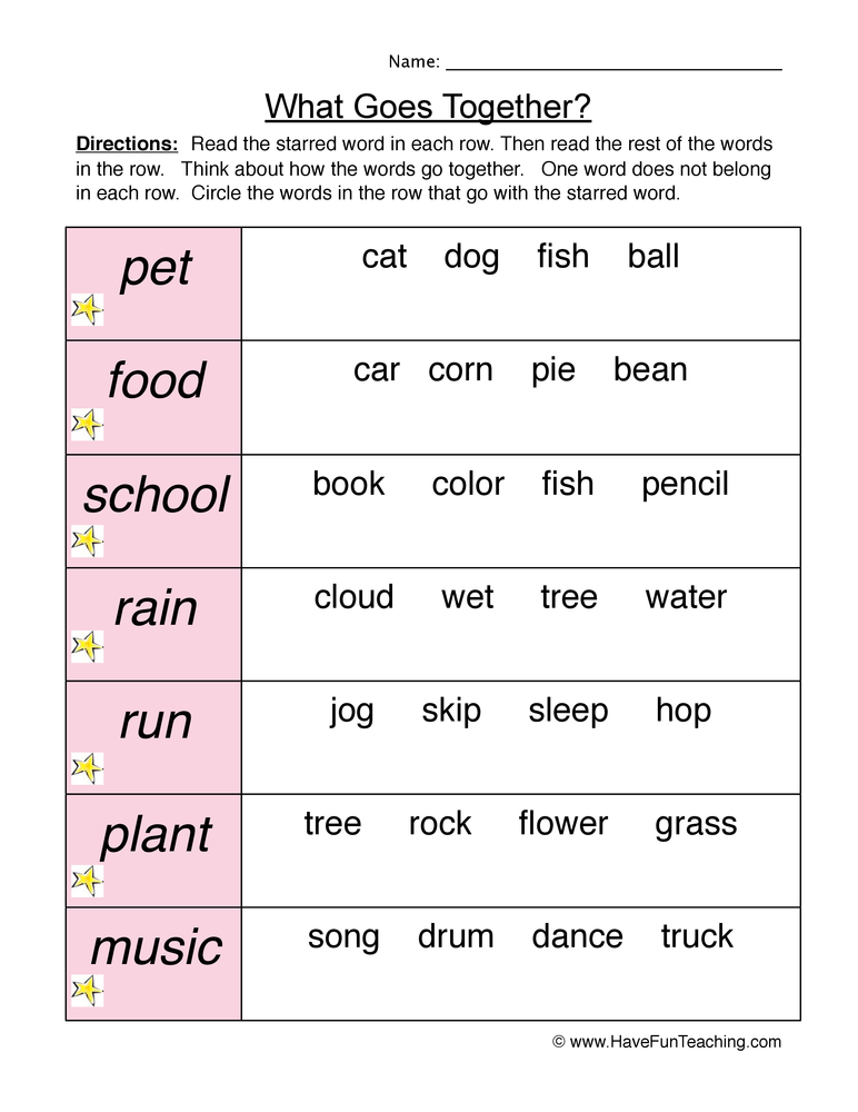 Go Together Worksheet 2