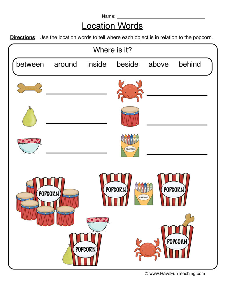 Location Words Worksheet