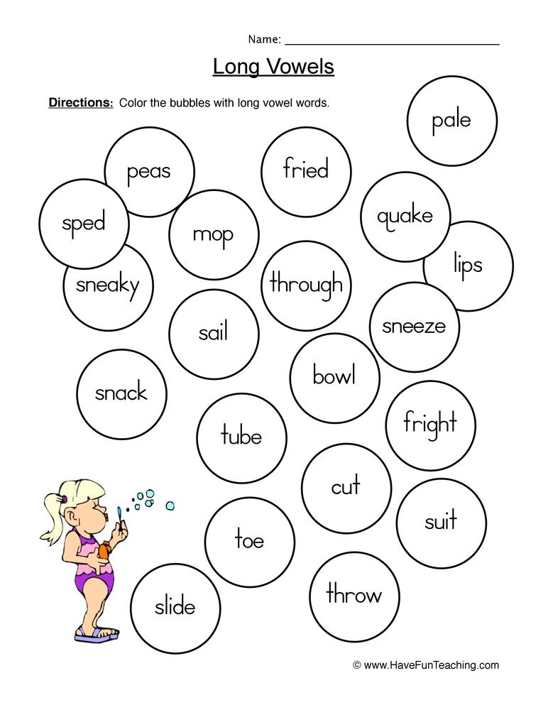 long vowels worksheet 4