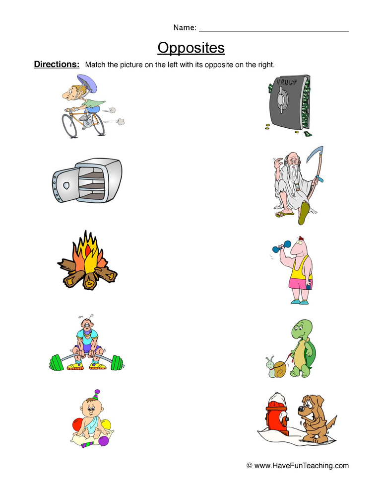 math worksheet : opposites worksheets  have fun teaching : Kindergarten Opposites Worksheet