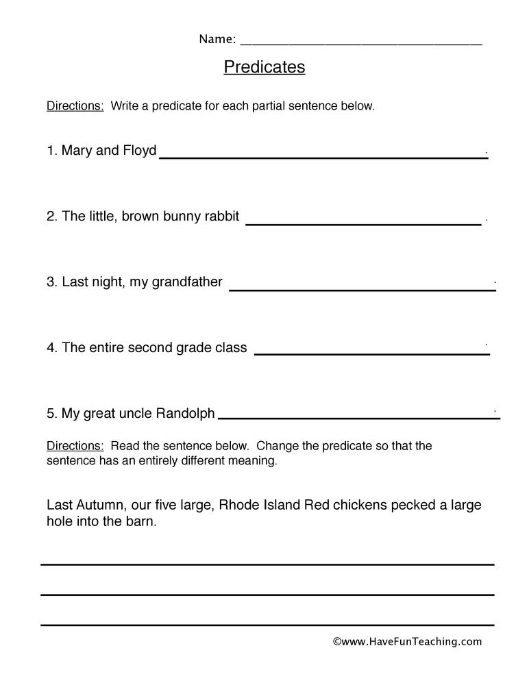 predicate worksheet 2